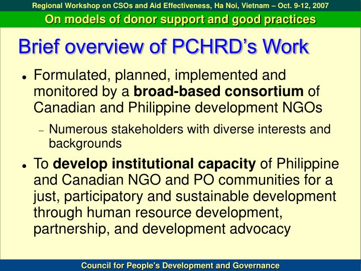 Brief overview of PCHRD's Work