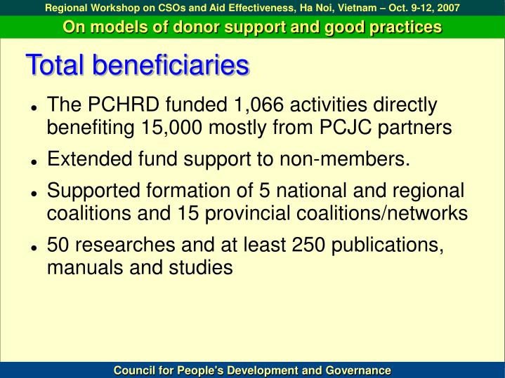 Total beneficiaries
