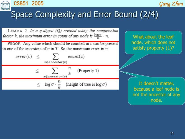 Space Complexity and Error Bound (2/4)