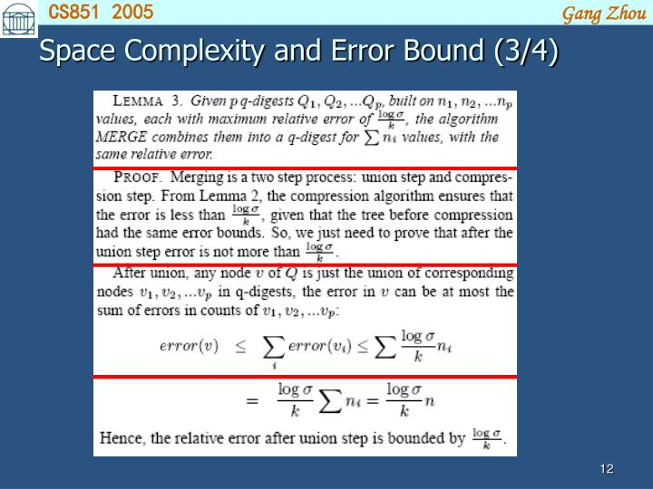 Space Complexity and Error Bound (3/4)