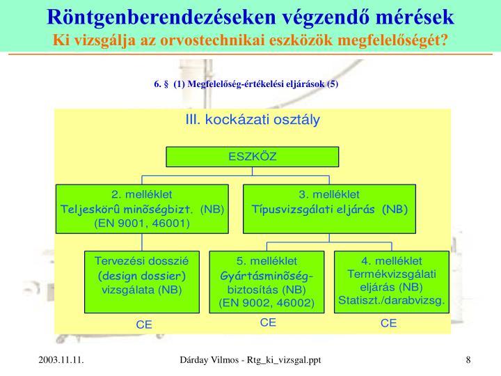 6. §  (1) Megfelelőség-értékelési eljárások (5)
