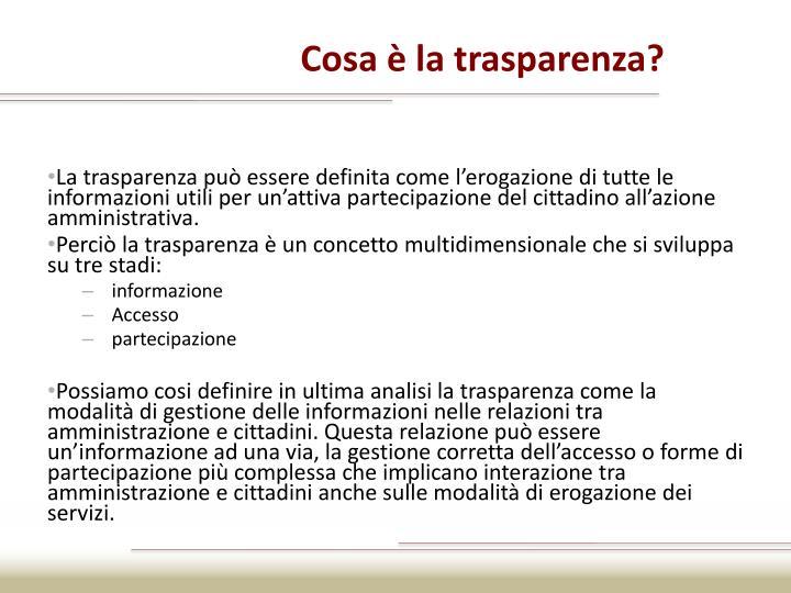 Cosa è la trasparenza?