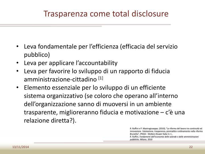 Trasparenza come total disclosure