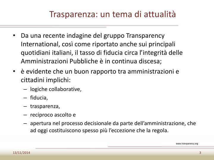 Trasparenza: un tema di attualità