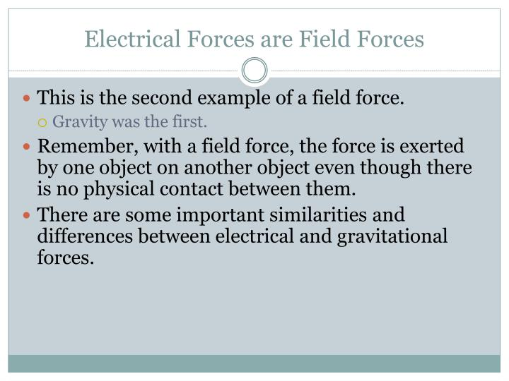Electrical Forces are Field Forces