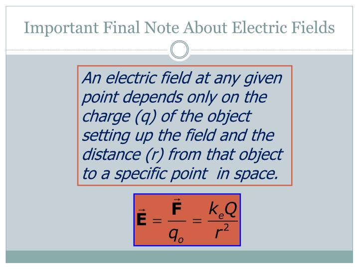 Important Final Note About Electric Fields