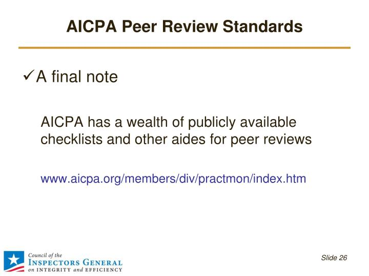 AICPA Peer Review Standards