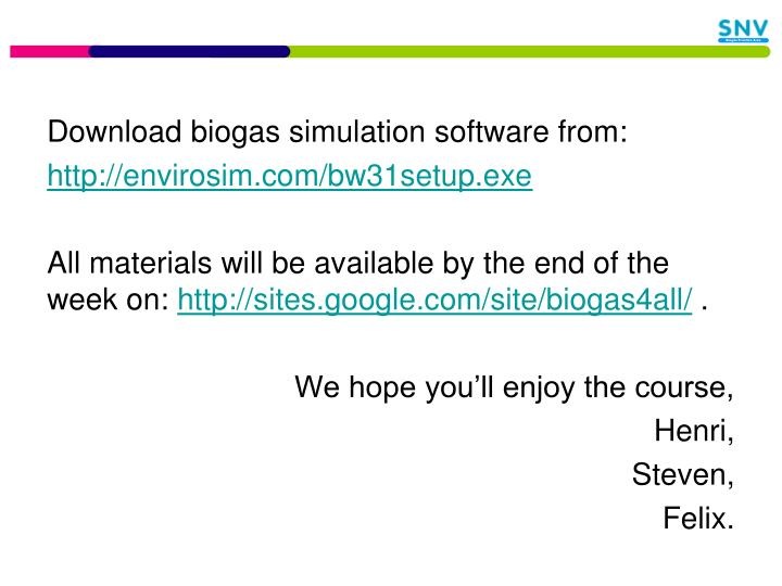 Download biogas simulation software from: