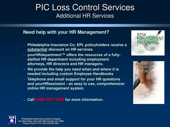 PIC Loss Control Services