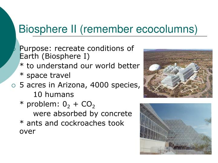 Biosphere II (remember ecocolumns)