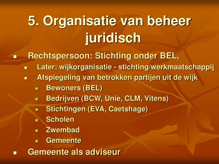 5. Organisatie van beheer