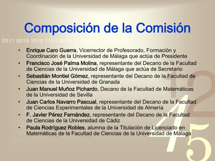 Composición de la Comisión