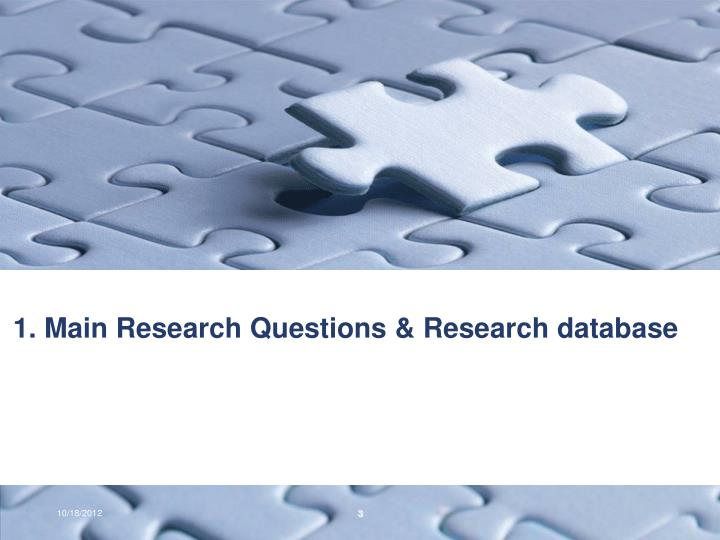 1 main research questions research database