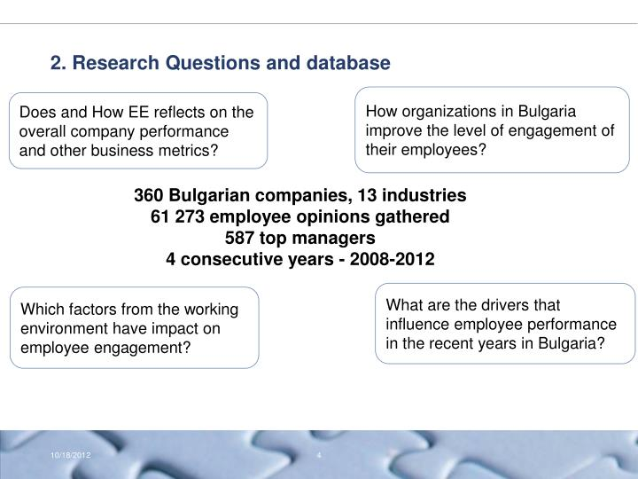 2. Research Questions and database