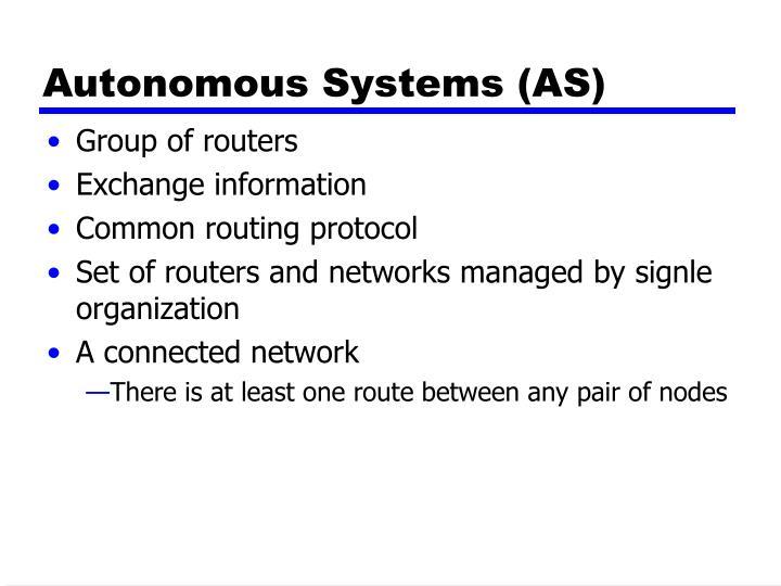 Autonomous Systems (AS)