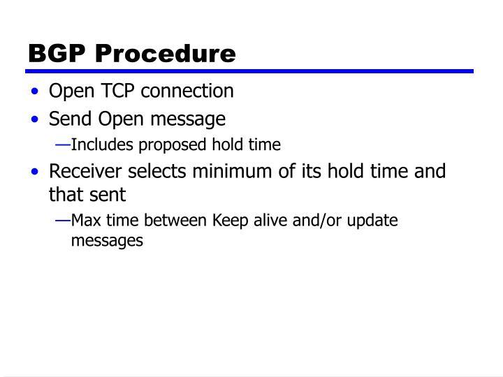 BGP Procedure