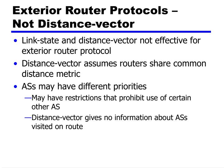 Exterior Router Protocols –