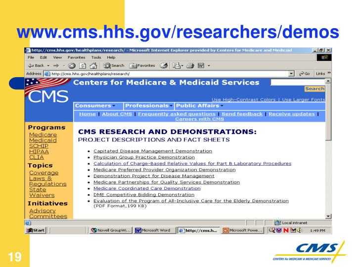 www.cms.hhs.gov/researchers/demos