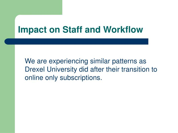 Impact on Staff and Workflow