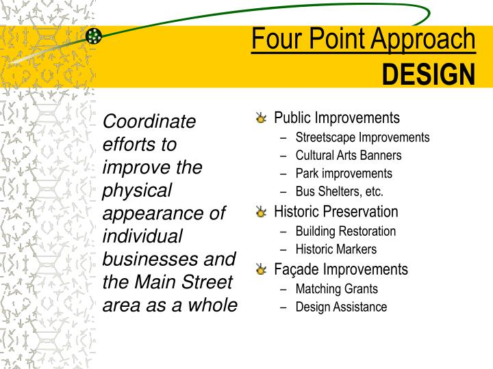 Coordinate efforts to improve the physical appearance of individual businesses and the Main Street area as a whole