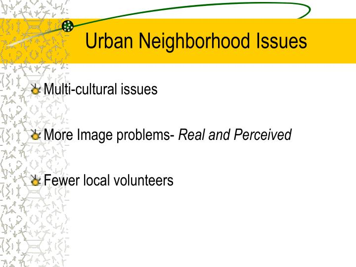 Urban Neighborhood Issues