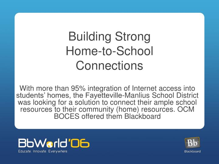 Building strong home to school connections