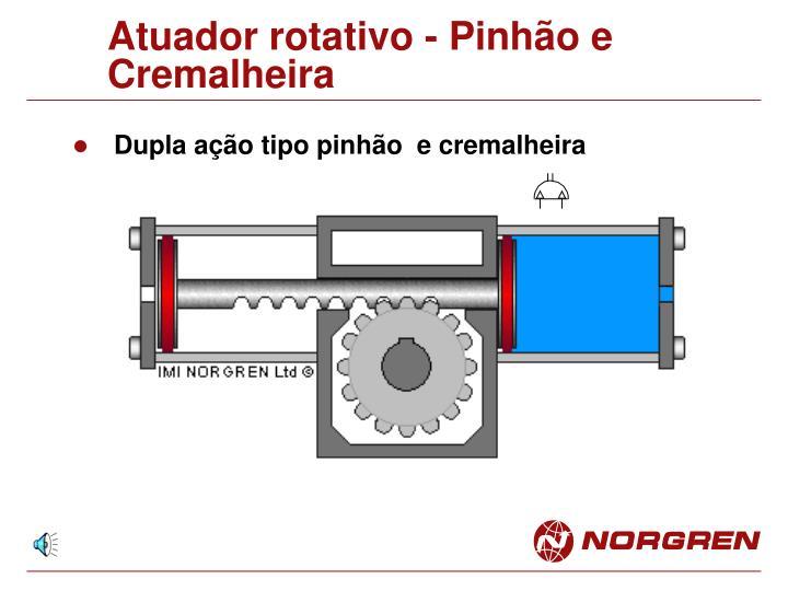 Atuador rotativo - Pinhão e Cremalheira