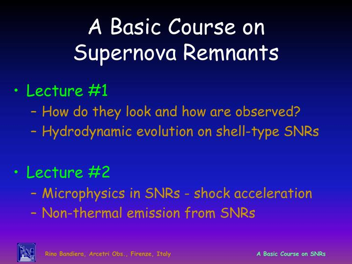 A basic course on supernova remnants