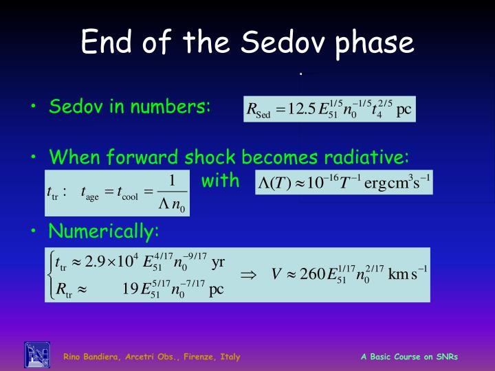 End of the Sedov phase