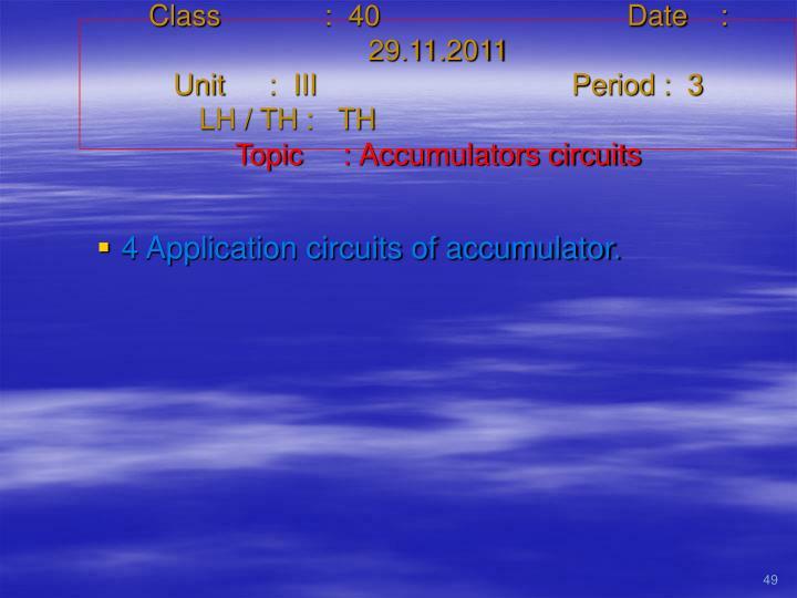 Class   :  40Date    :  29.11.2011