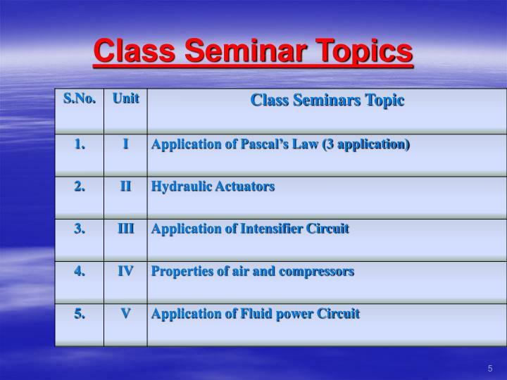 Class Seminar Topics