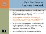 key findings lessons learned