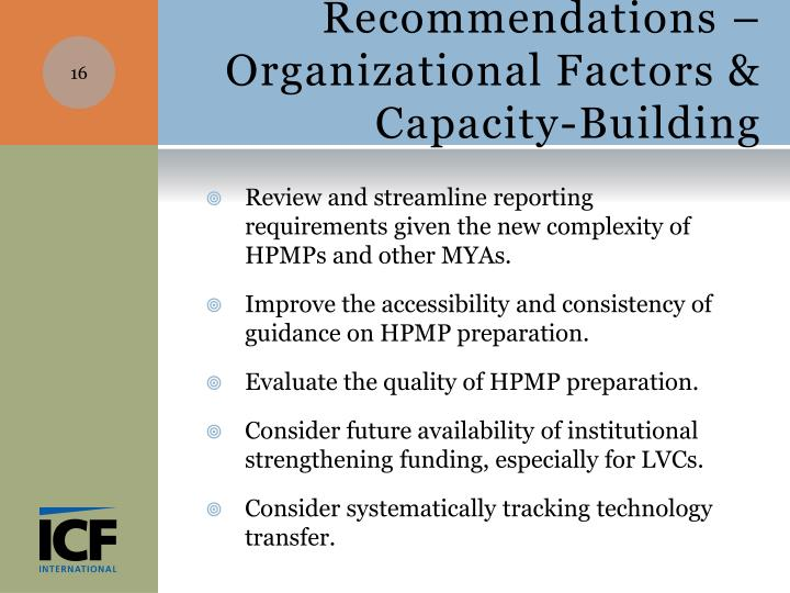 Recommendations – Organizational Factors & Capacity-Building