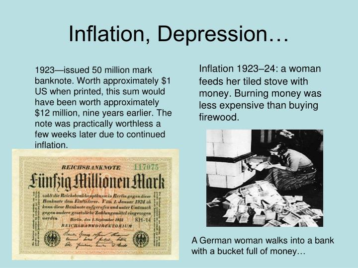 1923—issued 50 million mark banknote. Worth approximately $1 US when printed, this sum would have been worth approximately $12 million, nine years earlier. The note was practically worthless a few weeks later due to continued inflation.