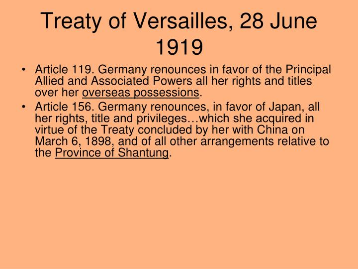 Treaty of Versailles, 28 June 1919