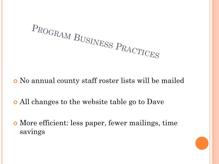 Program Business Practices