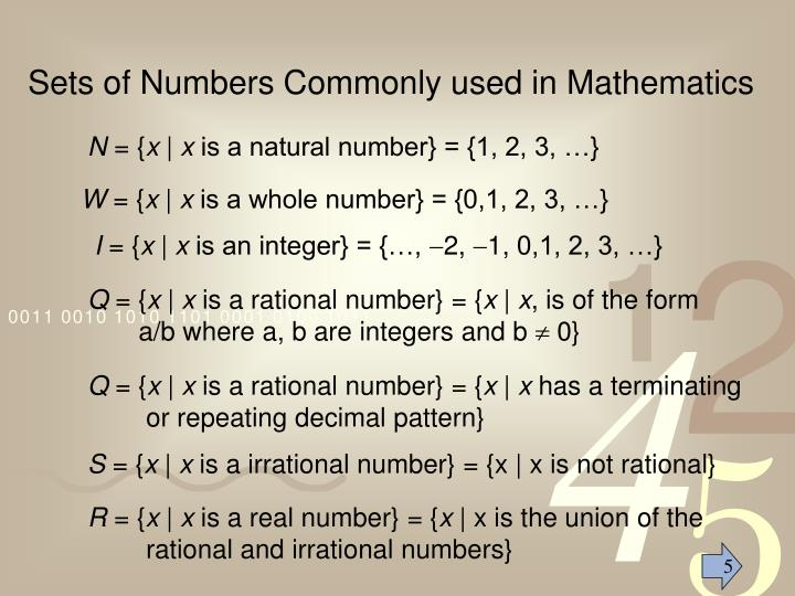 Sets of Numbers Commonly used in Mathematics