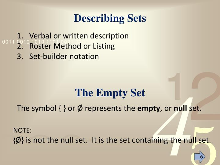 Describing Sets