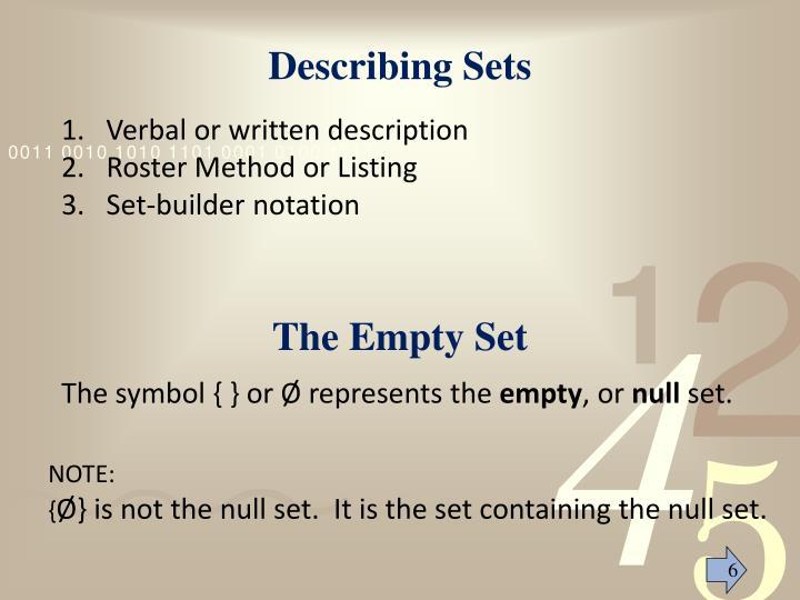 Describing Sets