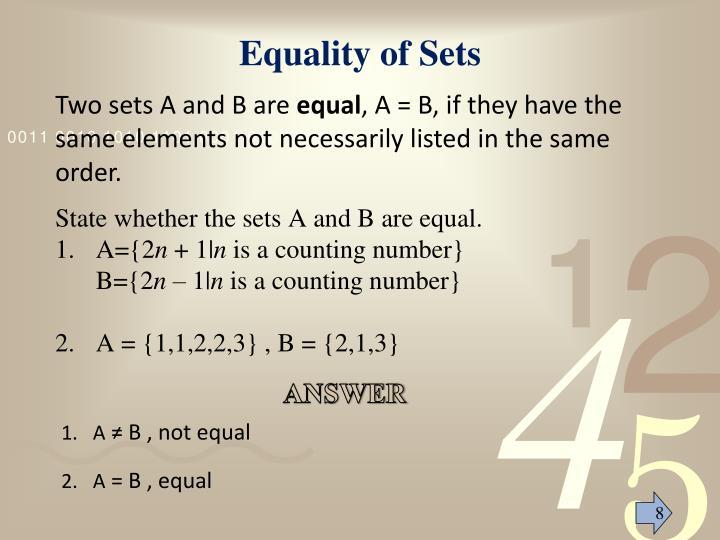 Equality of Sets