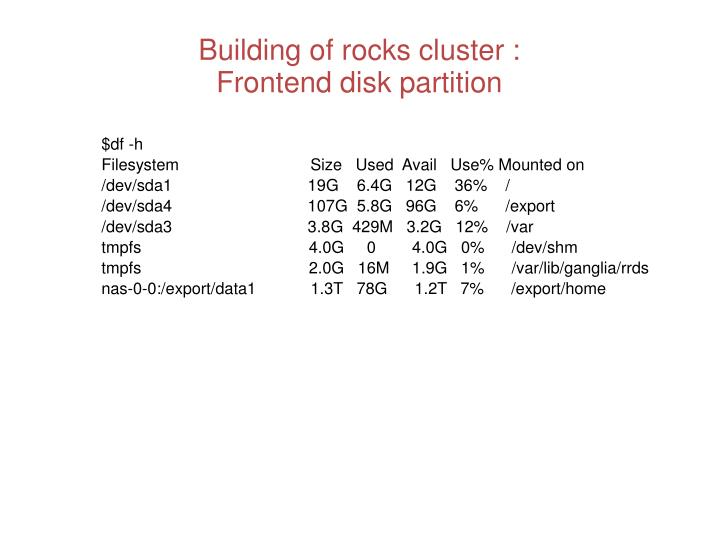 Building of rocks cluster :