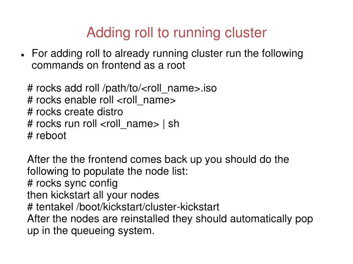 Adding roll to running cluster