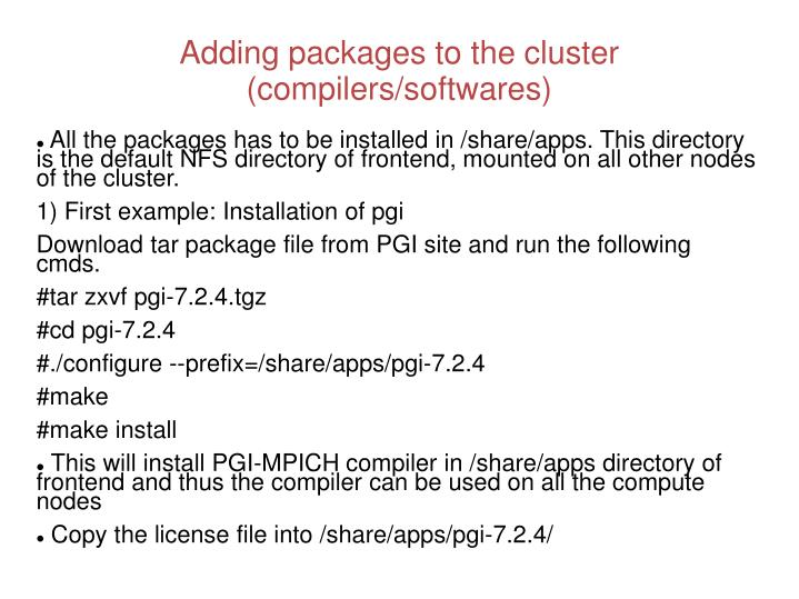 Adding packages to the cluster