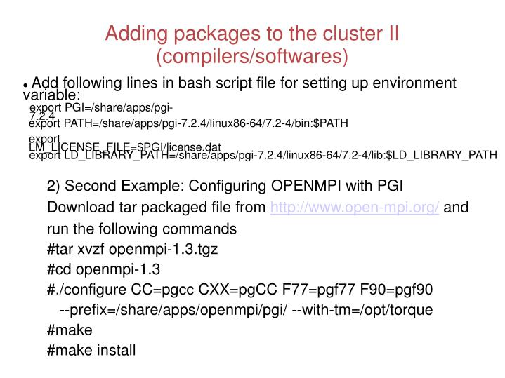 Adding packages to the cluster II