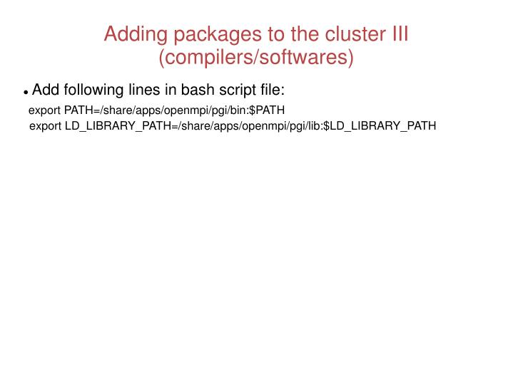 Adding packages to the cluster III