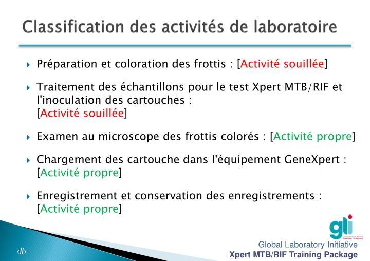 Classification des activités de laboratoire