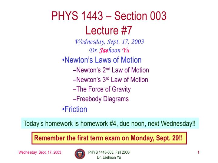 Phys 1443 section 003 lecture 7