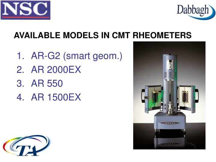 AVAILABLE MODELS IN CMT RHEOMETERS