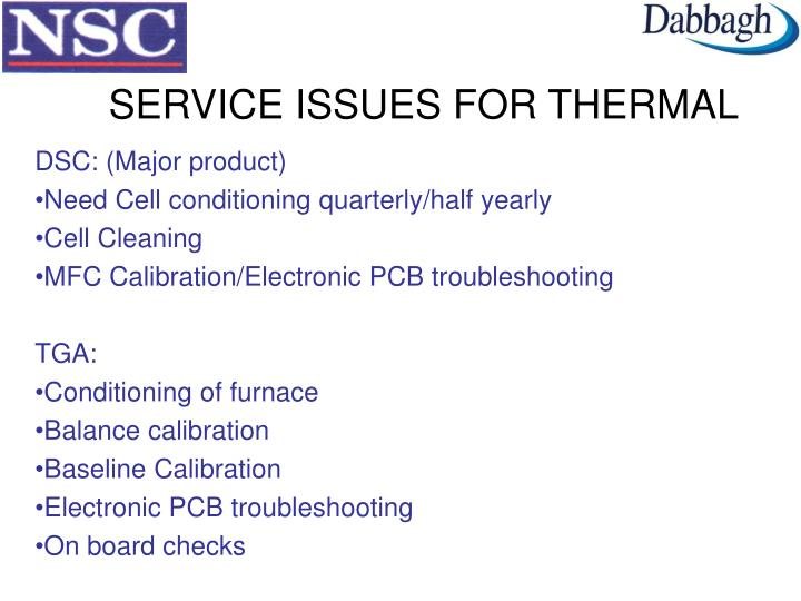 SERVICE ISSUES FOR THERMAL