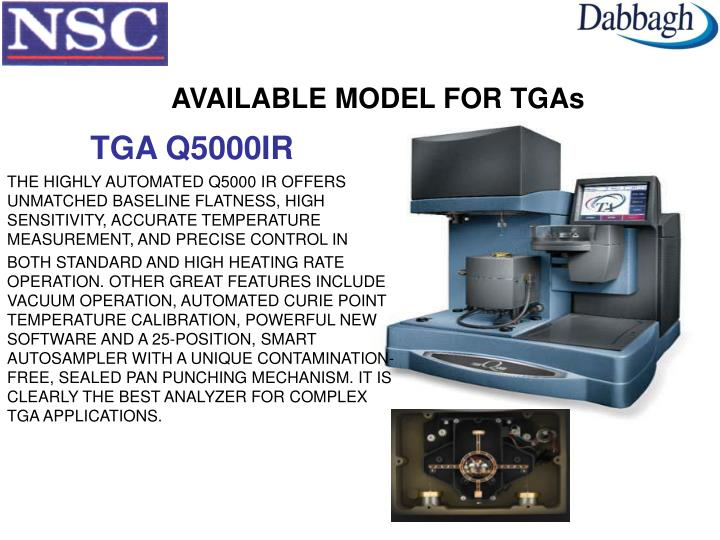 AVAILABLE MODEL FOR TGAs